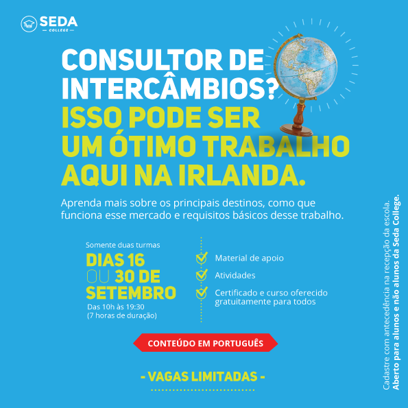 Cartaz curso consultor de intercâmbio SEDA College