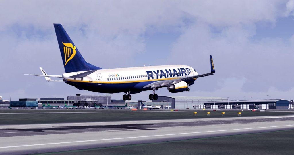Avión de Ryanair despegando